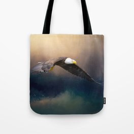 Painting flying american bald eagle Tote Bag