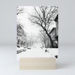 New York City At Snow Time Black and White Mini Art Print