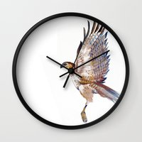 hawk Wall Clocks featuring hawk by Jenny Highsmith