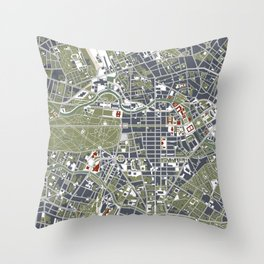 Berlin city map engraving Throw Pillow