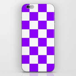 Large Checkered - White and Violet iPhone Skin