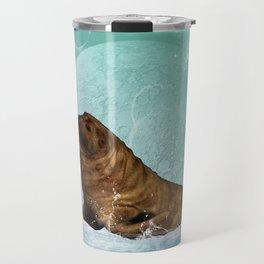 Cute  walrus with water splash Travel Mug