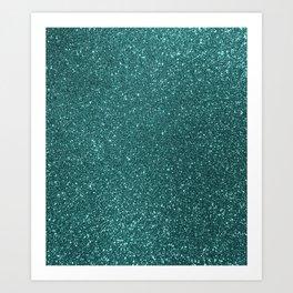 Aqua Teal Turquoise Glitter Art Print