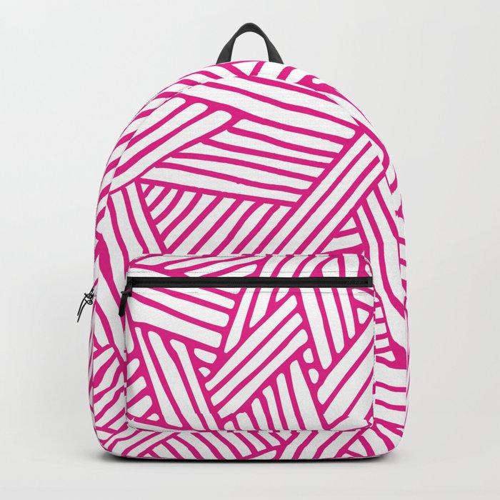 Abstract pink & white Lines and Triangles Pattern-Mix and Match with Simplicity of Life Backpack