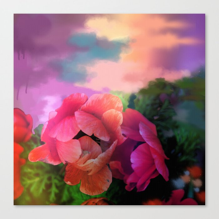 Summer garden with Anemones Canvas Print