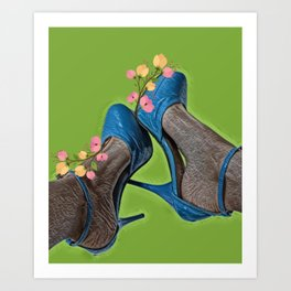 Beautiful feet in blue shoes Art Print