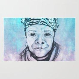 Maya Angelou Portrait on Blue and Pink Rug