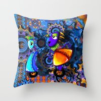 robots Throw Pillows featuring Robots by aboutlaila