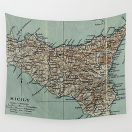 Vintage Map of Sicily Italy (1911) Wall Tapestry