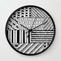 black white Wall Clocks featuring Black&White White&Black by Kaitlyn_Michelle_