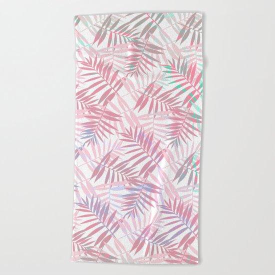 Pastel Color Palms Pattern Beach Towel