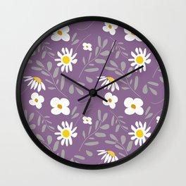 Joyful Folk Floral : Purple Wall Clock