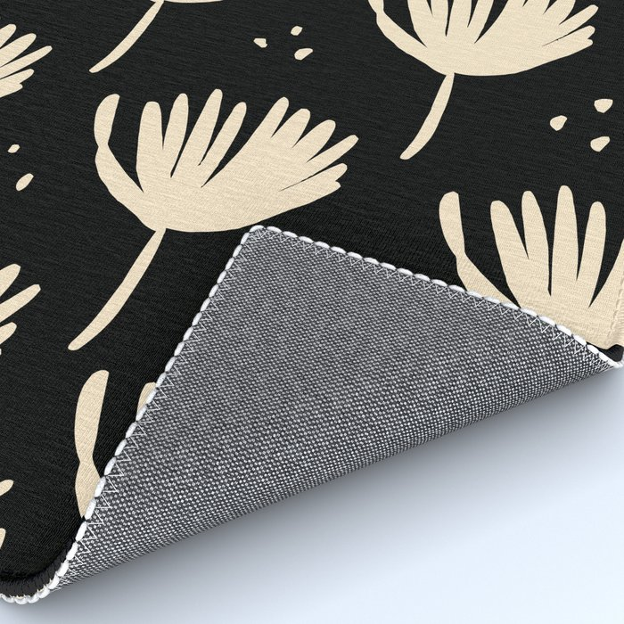 Leaves in black and ivory Rug