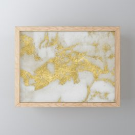 Marble - Yellow Gold Marble Foil on White Pattern Framed Mini Art Print