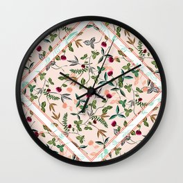delicate floral and leaves scarf print Wall Clock
