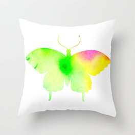 Spring rainbow butterfly Throw Pillow