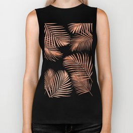 Rose Gold Palm Leaves Biker Tank
