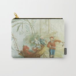 Light Green & Red Chinoiserie Carry-All Pouch