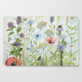 Floral Watercolor Botanical Cottage Garden Flowers Bees Nature Art Cutting Board