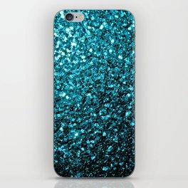 Beautiful Aqua blue glitter sparkles iPhone Skin