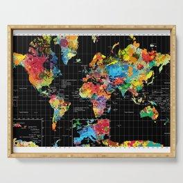 World Map Black - 1 Serving Tray