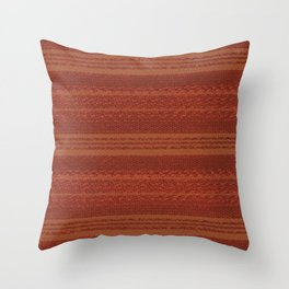 Big Stich Terracotta Brown - Knitting Fabric Art Throw Pillow