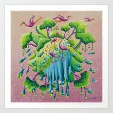 the flamingo world Art Print