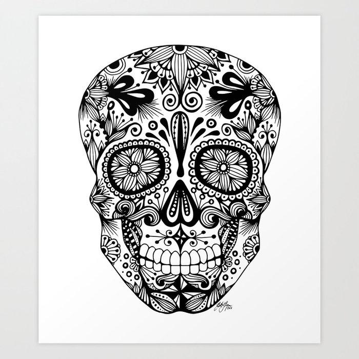 Zentangle - Sugar Skull Art Print By Zenspiredesigns Society6