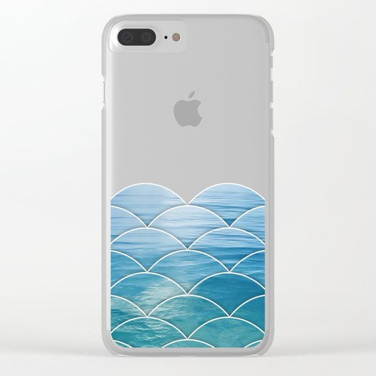 Ocean Waves Pattern Clear iPhone Case