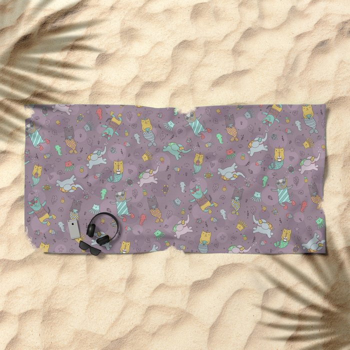 Cat mermaids under the sea. Funny elephant and unicorn kitty. Beach Towel