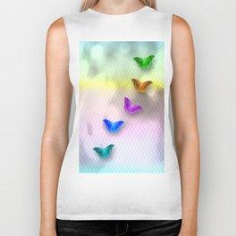 Rainbow of butterflies on textured chevron pattern Biker Tank