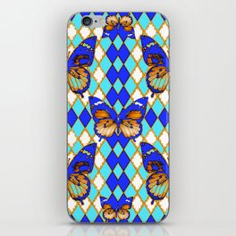 ARGYLE ABSTRACTED  BROWN SPICE  MONARCHS BUTTERFLY & BLUE-WHITE iPhone Skin