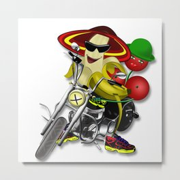 Cheeky banana in a hat on a bike  Metal Print