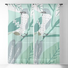 Sparrow in blue Sheer Curtain