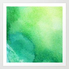 Watercolour Viridian Green Art Print