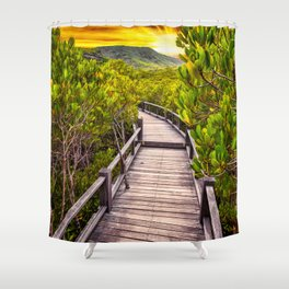 Mangrove Forest Sunset Shower Curtain