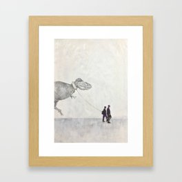 Dinosaur on a Walk Framed Art Print