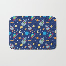 Fun Space Rockets and Aliens Bath Mat