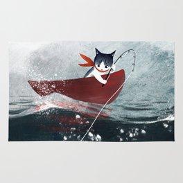"""Catfish"" - cute fantasy cat mermaids illustration Rug"