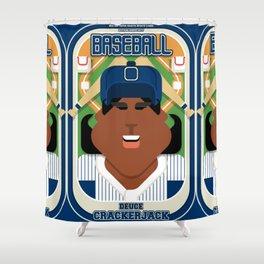 Baseball Blue Pinstripes - Deuce Crackerjack - Aretha version Shower Curtain