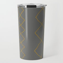 Moroccan Diamond Stripe in Grey Mustard Travel Mug