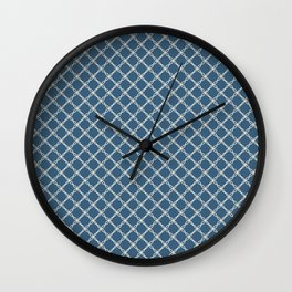 Blue & Linen White Angled Scroll Grid Line Pattern Pairs To 2020 Color of the Year Chinese Porcelain Wall Clock