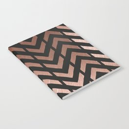 Rose gold and black chevron Notebook