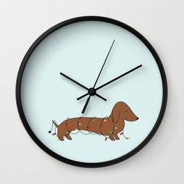 SAUSAGE DOG CHRISTMAS TREE Wall Clock