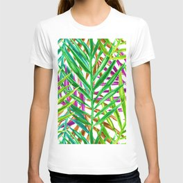 Rainbow Watercolor Palm Leaves in White T-shirt