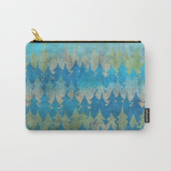 The secret forest - Abstract aqua turquoise Forest tree pattern Carry-All Pouch