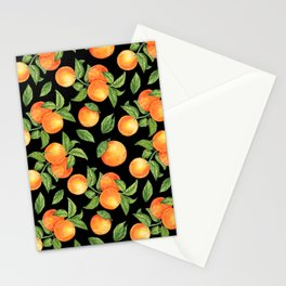 Watercolor oranges hand painted on dark background illustration pattern Stationery Cards