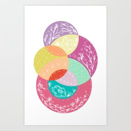 Squiggles & Quilts  Art Print