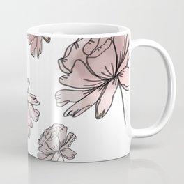 Hand Drawn Peonies Dusty Rose Coffee Mug