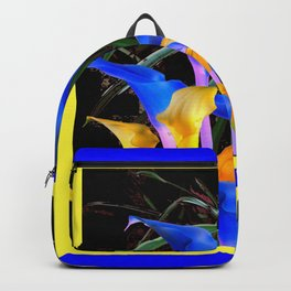 BLUE-BLACK MODERN ABSTRACT BLUE & GOLD CALLA LILIES Backpack